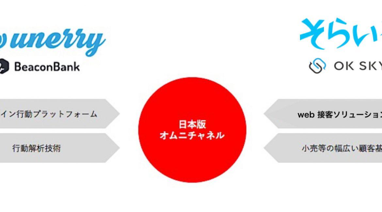 Web接客ソリューション「OK SKY」を運営する株式会社空色がオフライン行動プラットフォーム「Beacon Bank®」を運営する株式会社unerryと業務提携を締結いたしました。